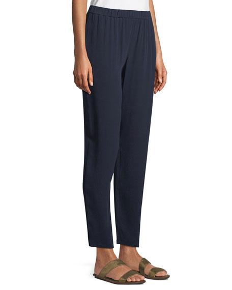 Silk Georgette Crepe Slouchy Ankle Pants, Petite