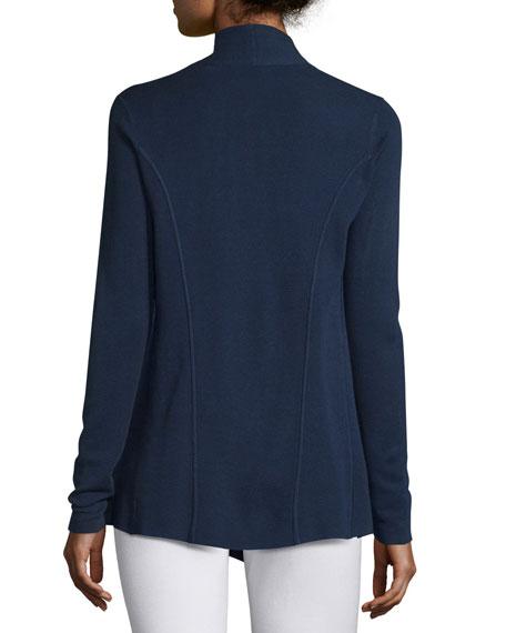Silk Organic Cotton Open Cardigan, Midnight