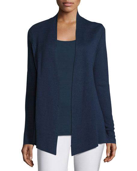 Eileen Fisher Silk Organic Cotton Open Cardigan, Midnight