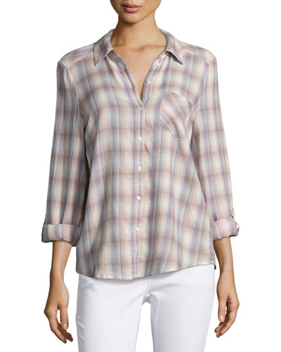 Jerrie Plaid Button-Front Top, Multi Pattern