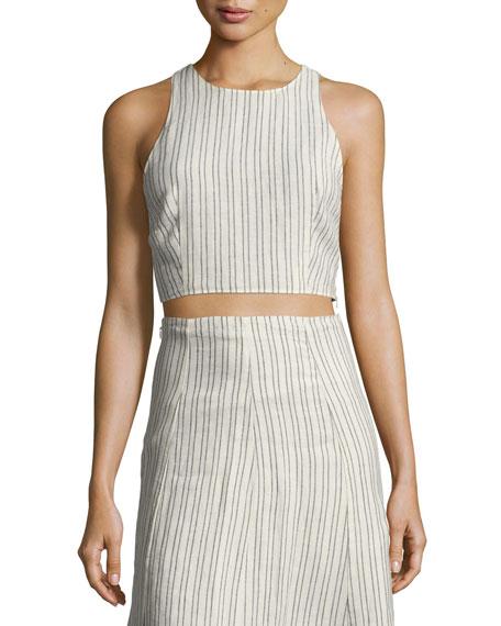 Theory Nikayla Narrow Striped Linen Top, White