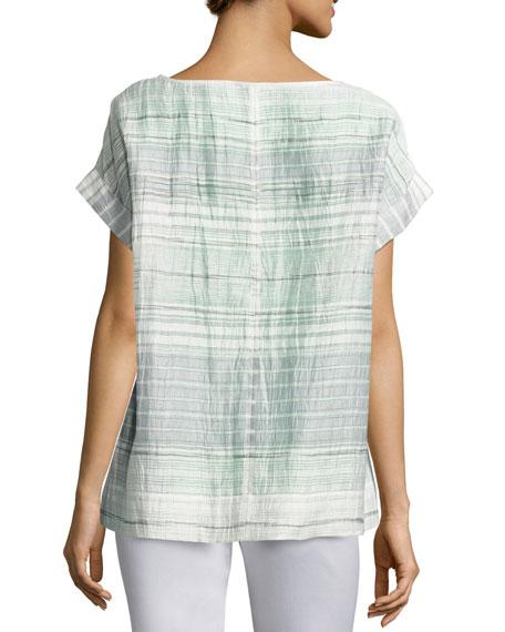 Lori Short-Sleeve Palmetto Crinkle-Stripe Blouse, Multi Pattern, Plus Size