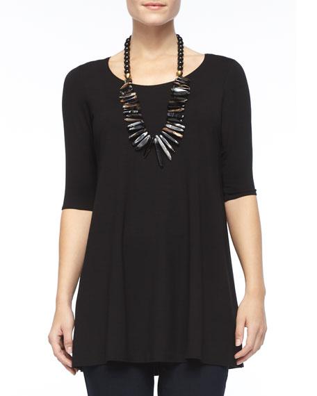 Eileen Fisher Half-Sleeve Silk Jersey Tunic, Plus Size