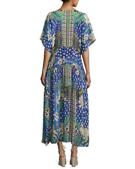 Short-Sleeve Mixed-Print Maxi Dress