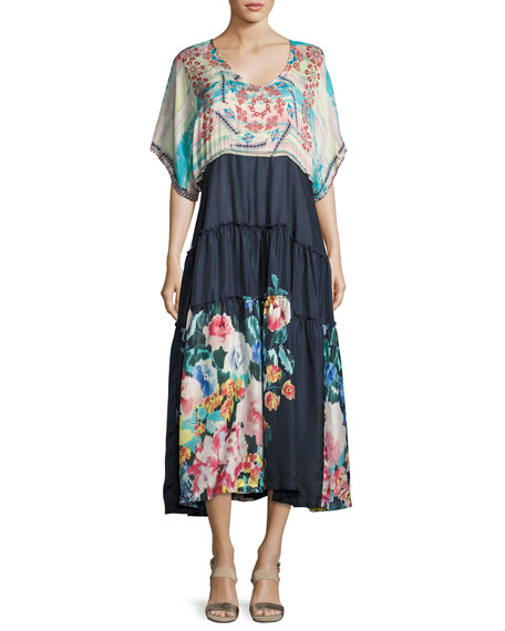 Johnny Was Mixed-Print Short-Sleeve Maxi Dress