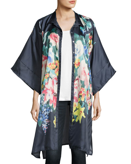 Johnny Was Malani Floral-Print Button-Front Long Tunic, Navy
