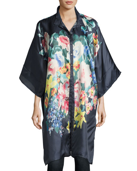 Malani Floral-Print Button-Front Long Tunic, Navy, Plus Size