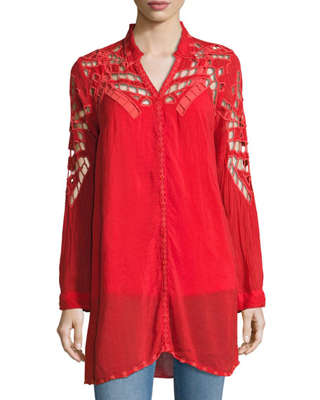 Johnny Was Diamond Eyelet Georgette Tunic, Plus Size
