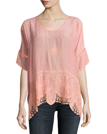 Johnny Was Princess Short-Sleeve Georgette Top, Coral Sunset,