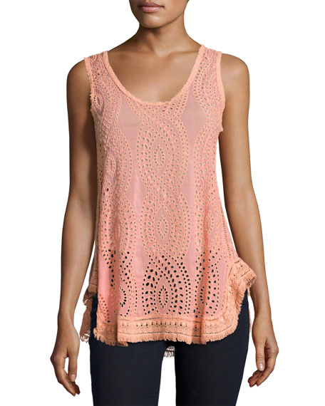 Johnny Was Hoxie Sleeveless Eyelet Tank, Coral Sunset,