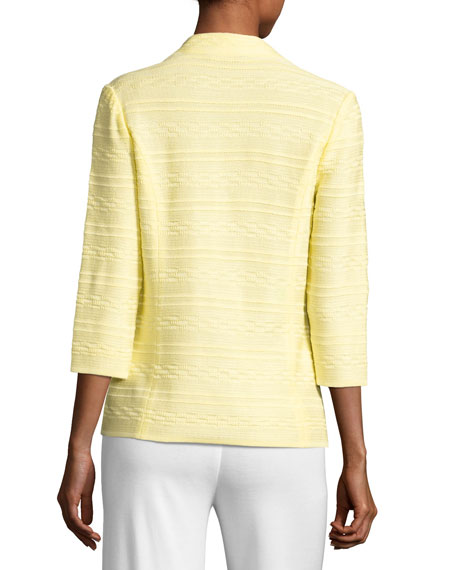 Textured One-Button Jacket, Yellow, Plus Size