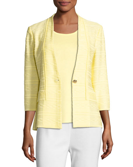Misook Textured One-Button Jacket, Yellow, Plus Size