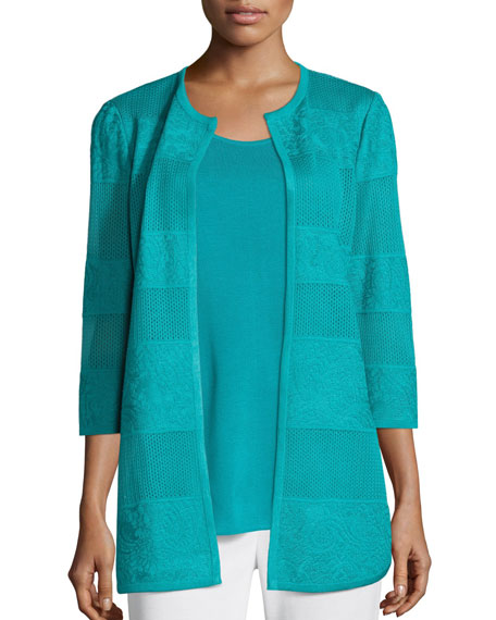 Misook Textured Lines Long Jacket, Turquoise, Petite and
