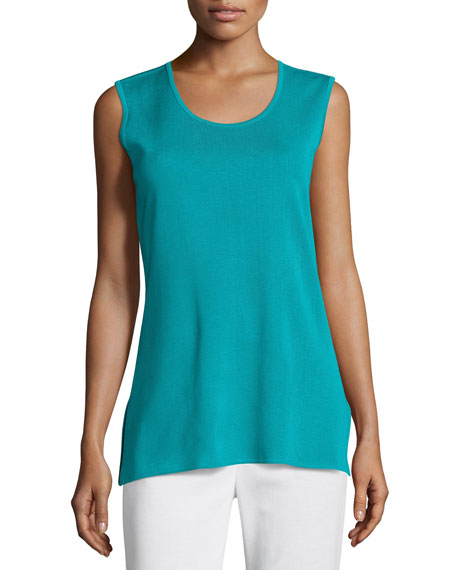Misook Solid Knit Tank, Turquoise, Petite