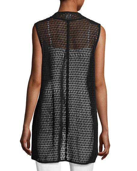 Cotton Lace Vest, Black, Plus Size