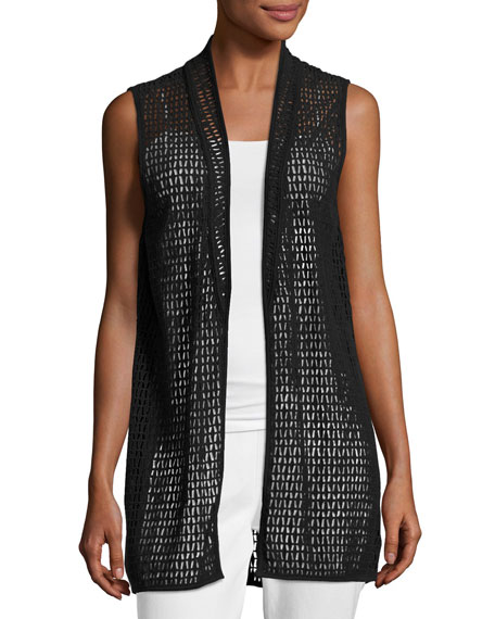Joan Vass Cotton Lace Vest, Black