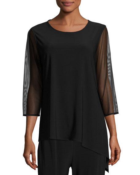 Caroline Rose Mesh-Sleeve Angled Top, Black, Petite