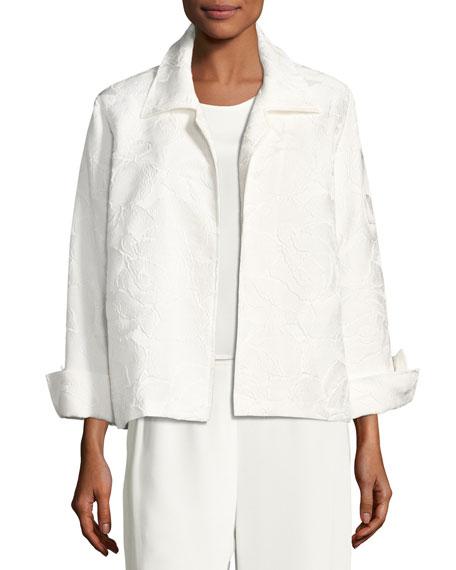 Caroline Rose Jasmine Floral Jacquard Jacket, White, Plus