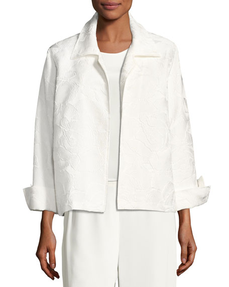 Caroline Rose Jasmine Floral Jacquard Jacket, White, Petite
