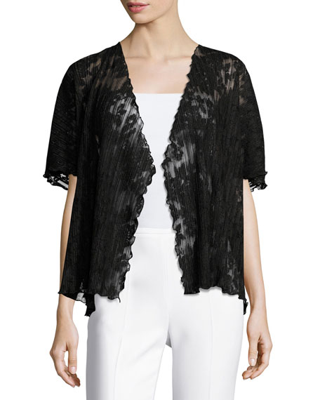 Short-Sleeve Pleated Lace Crop Cardigan, Black