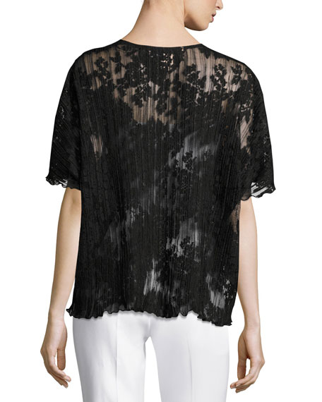 Short-Sleeve Pleated Lace Crop Cardigan, Black, Petite