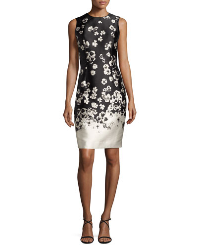 Sleeveless Floral Taffeta Cocktail Dress, Black