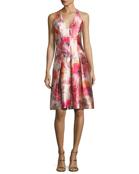 Carmen Marc Valvo Sleeveless Floral Satin Twill Cocktail