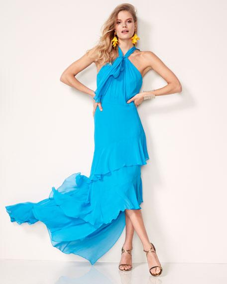 Sleeveless Tiered Silk Chiffon Gown, Blue