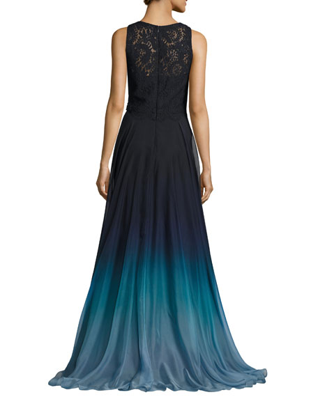 Sleeveless Lace & Ombre Chiffon Gown, Blue