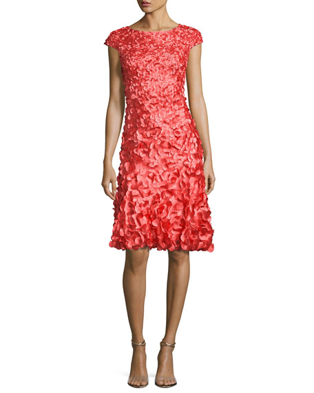 606d0124bb2 Theia Cap-Sleeve 3D Petal Cocktail Dress In Flame