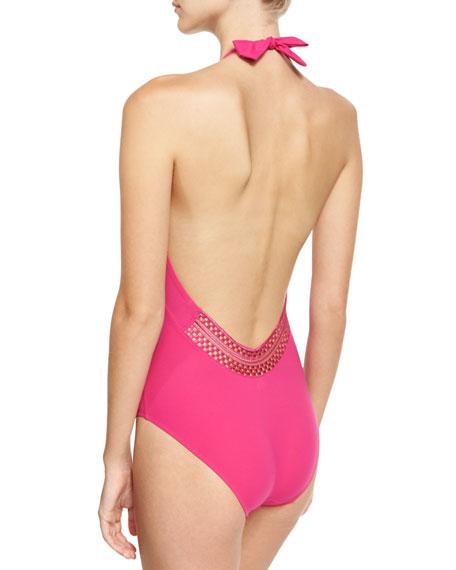 Saga Keniane Low-Back One-Piece Swimsuit, Pink