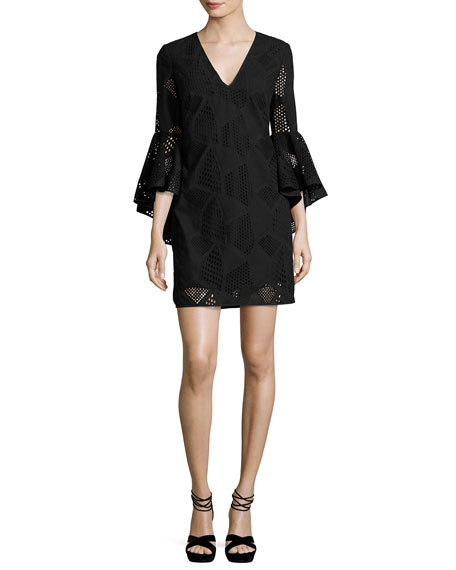 Milly Nicole Bell-Sleeve Embroidered Cotton Shift Dress, Black