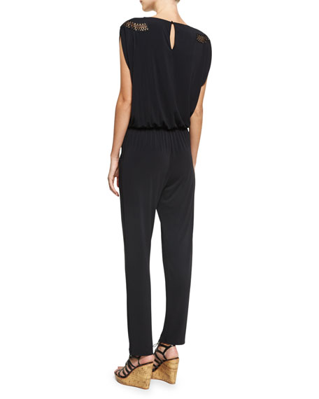 Saga Keniane V-Neck Coverup Jumpsuit, Black