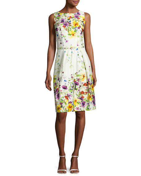 David Meister Sleeveless Belted Floral Stretch Poplin Dress,