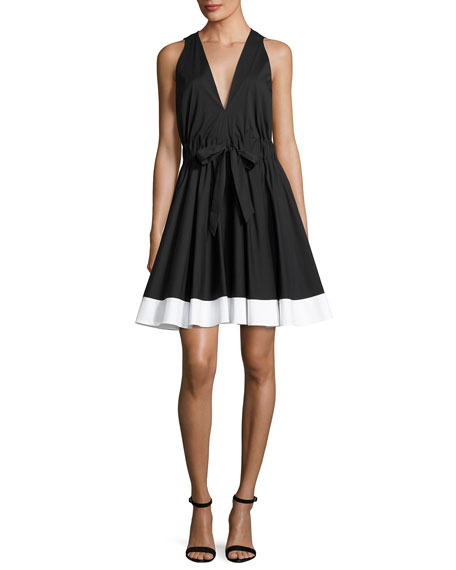 Milly Lola Sleeveless Colorblocked Poplin Dress, Black/White