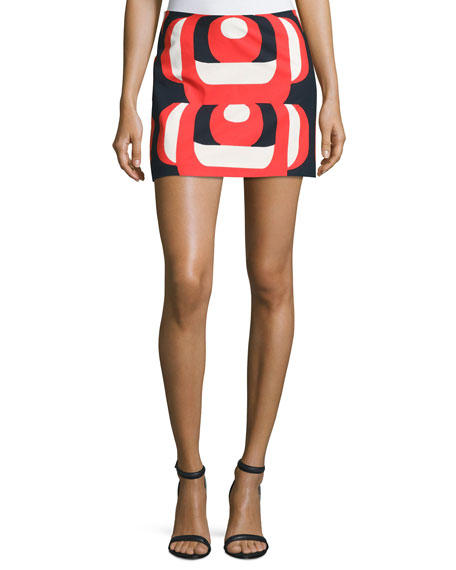 Milly Amphora Mod Printed Miniskirt, Red Multi and