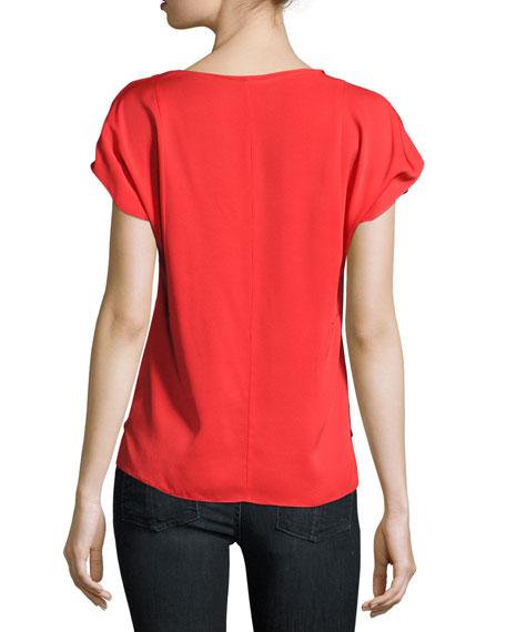 V-Neck Seamed Stretch-Silk Blouse, Red