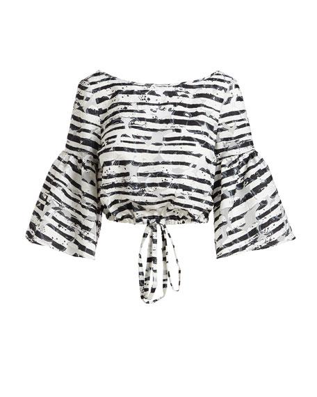 Lydia Floral Striped Burnout Crop Top, Black