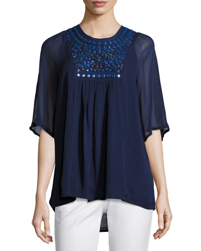 Heather Embroidered & Sequined Tunic, Navy, Plus Size