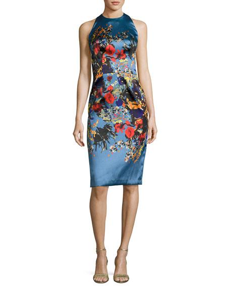 David Meister Sleeveless Floral Satin Cocktail Dress, Blue