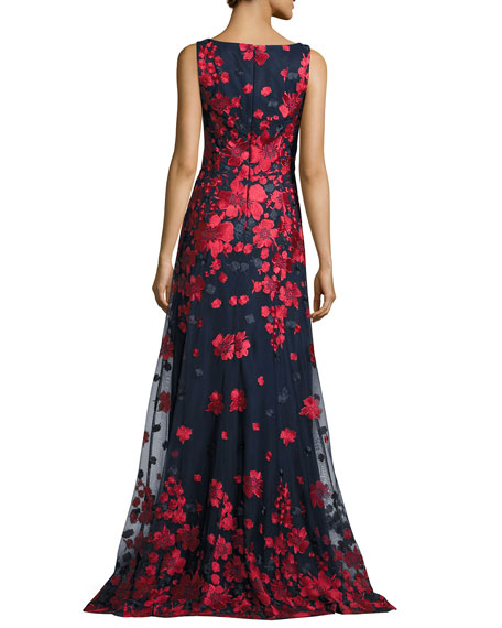 Sleeveless Embroidered Tulle Gown, Red/Blue