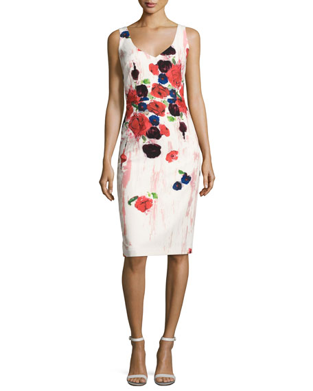 Sleeveless Floral Cocktail Dress, Pink/Multicolor