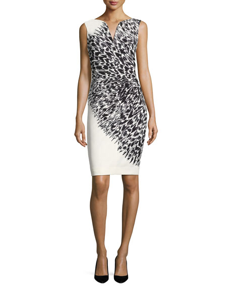 Milly Cady Brushstroke Feather-Print Sheath Dress, Black/White