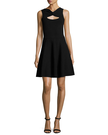 Milly Sleeveless Twist Fit-&-Flare Dress, Black