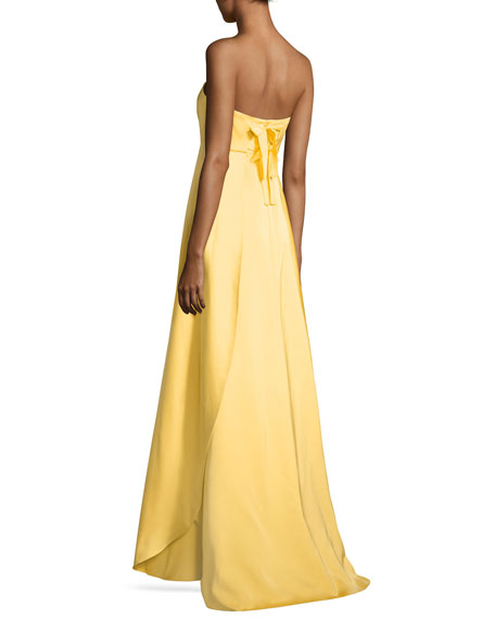 Tegan Strapless Satin Gown, Mimosa