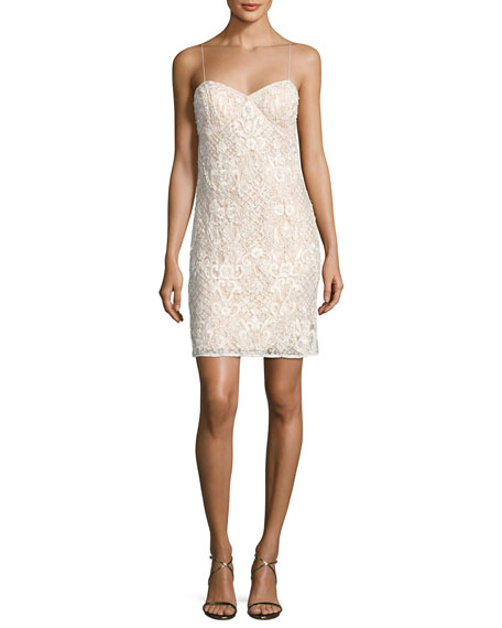 Aidan Mattox Sleeveless Beaded Lace Bustier Cocktail Dress,