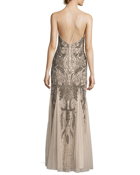 Sleeveless Beaded Paisley Chiffon Gown, Champagne