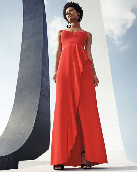 Sleeveless Draped Stretch Crepe Gown, Red