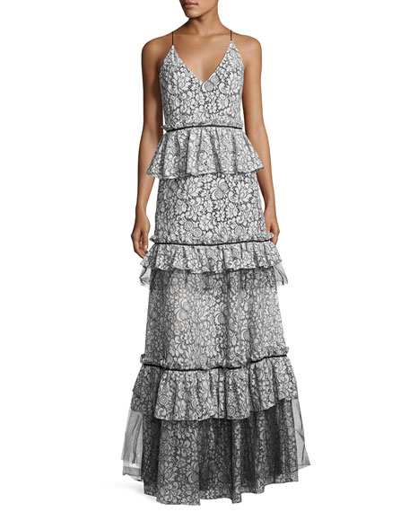 Brianna Sleeveless Tiered Lace Gown, Light Blue/Black