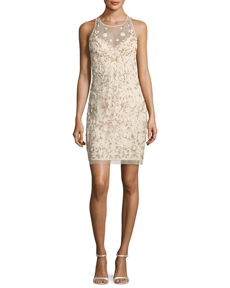 Sleeveless Beaded Floral Sheath Dress, Champagne